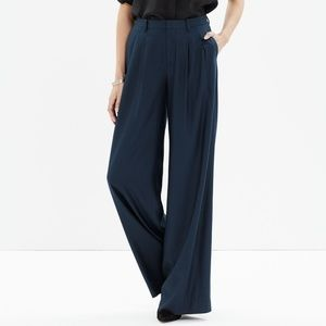 New Madewell Varick Navy Wide-leg Trousers, Size 0